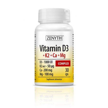 Vitamin D3 + K2 + Ca + Mg Complex x 30cps Zenyth