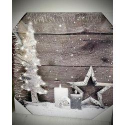 Panza imprimata Christmas cu LED-uri 30x30cm Roxan