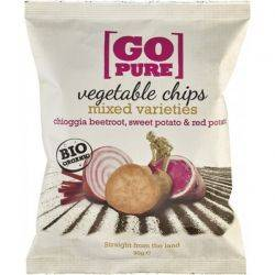 Chipsuri din sfecla, pastarnac si cartofi dulci fara gluten x 90g Go Pure