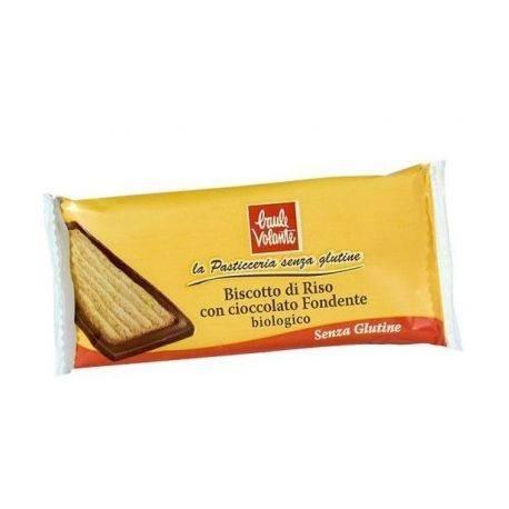 Biscuite bio de orez cu ciocolata amaruie, fara gluten x 23g Baule Volante