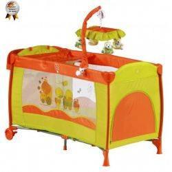 Patut pliant cu 2 nivele si mini-carusel Sleeper Deluxe Orange BabyGo