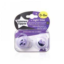 Suzete Ortodontice de Noapte 0 - 6 Luni x 2 buc Tommee Tippee