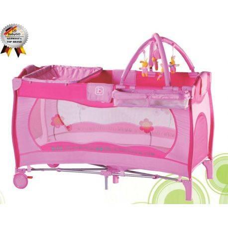 Patut pliant cu 2 nivele Sleeper Pink BabyGo