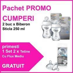 Pachet PROMO 2 Biberoane Sticla 250 ml + Set 2 Tetine Flux Mediu GRATUIT