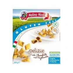 Delizie Pernite fara gluten umplute cu crema de ciocolata si alune x 300g Molino Nicoli
