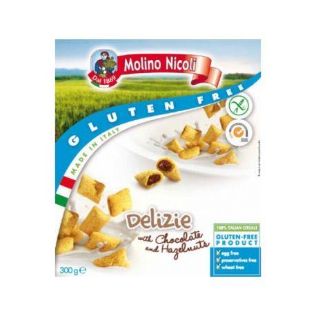 Delizie - Pernite cu crema de ciocolata si alune x 300g - Molino Nicoli