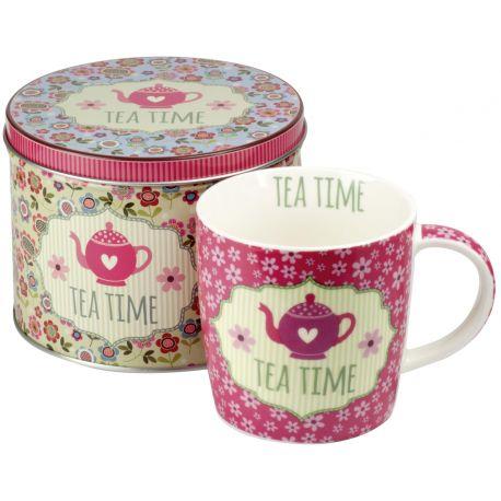 Set ceai Sinas Cana + Cutie metalica (roz antic) 300ml