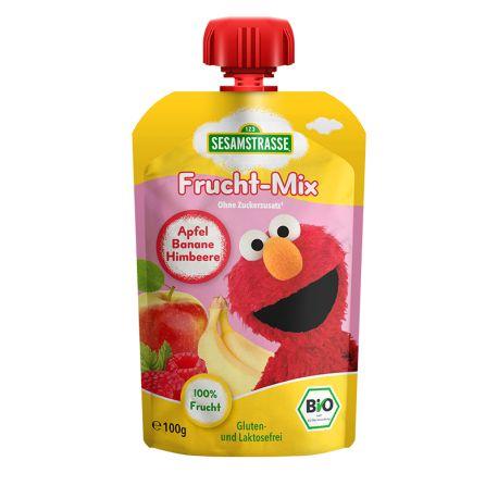 Piure eco de fructe mere, banane, zmeura x 100 g Sesame Street