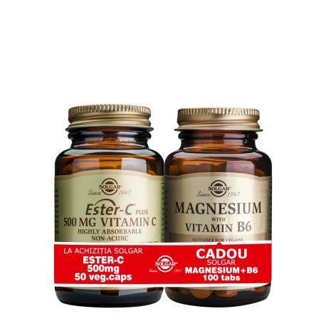 Pachet Ester-C 500mg 50cps + Magnesium cu B6 100 tablete GRATIS