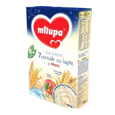 Cereale Vise placute 7 Cereale cu lapte si mere x 250g Milupa