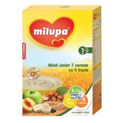 Cereale fara lapte Musli Jr 7 cereale cu 5 fructe x 250g Milupa