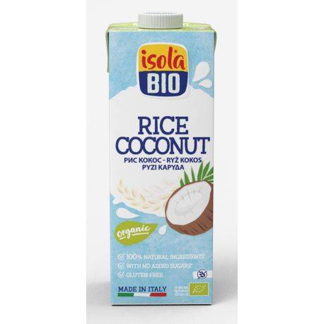 Lapte vegetal bio din orez cu cocos (fara gluten, fara lactoza) x 1000ml Isola Bio