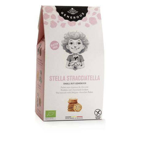 Biscuiti eco fara gluten Stella Stracciatella cu fulgi de ciocolata belgiana x 100g Generous