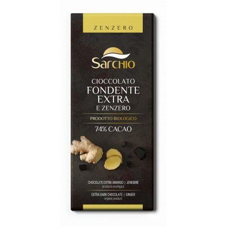 Ciocolata neagra (74% cacao) cu ghimbir fara gluten x 80g Sarchio
