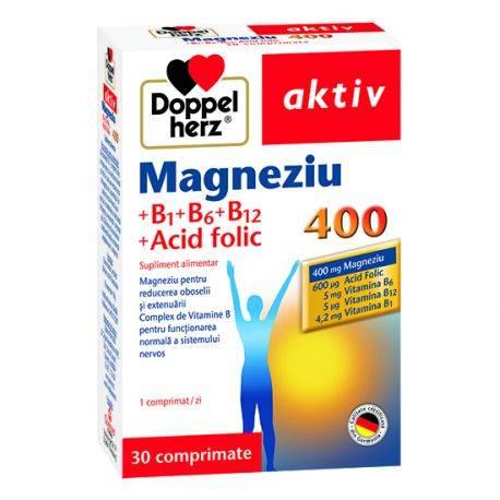 Doppelherz aktiv Magneziu 400 + Vitaminele B1 + B6 + B12+ Acid folic x 30 comprimate